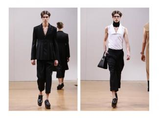 Sam Alexander takes to the catwalk at the JW Anderson show. Picture by: InDigital