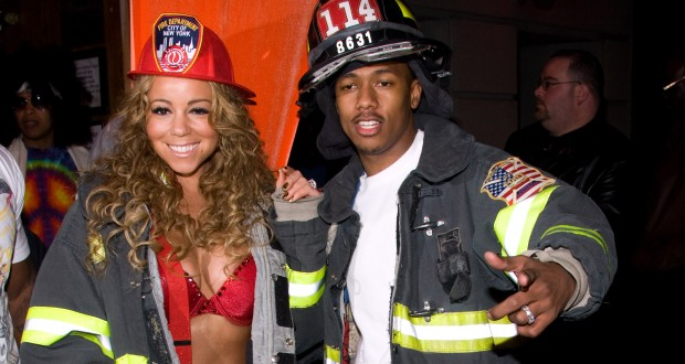 Mariah Carey and Nick Cannon both dressed up as fire fighters for Halloween