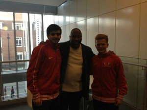 Rashti met football legend John Barnes at KU last year. JO HEATH