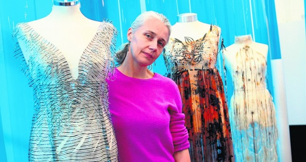 Helen Storey with her collection of polymer dresses in 2008. Photo: REX
