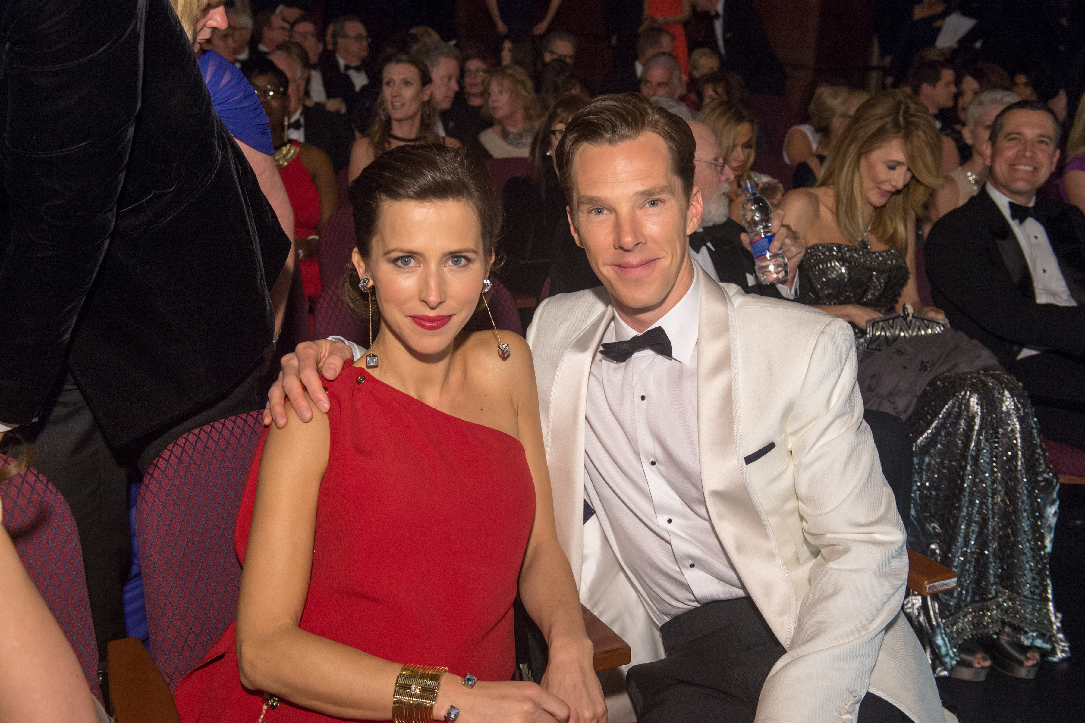 Benedict Cumberbatch with his wife, Sophie Hunter. Photo: REX