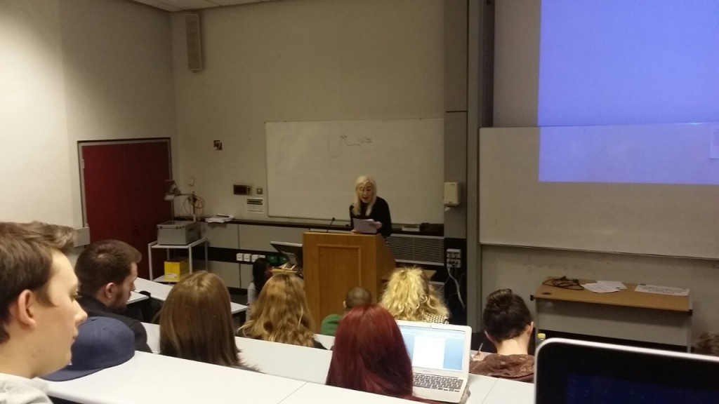 Local Green candidate Clare Keogh speaking in front of around 45 KU students. Photo: Omar Khalil