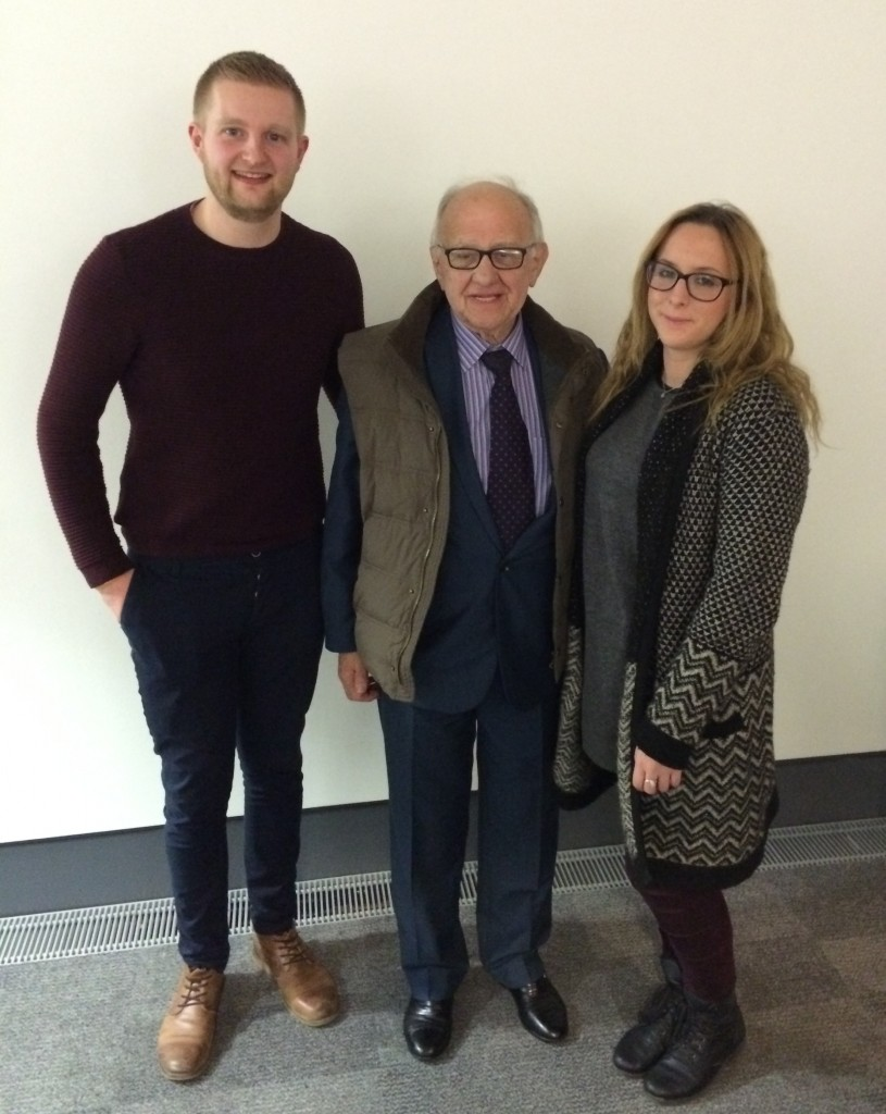 Zigi with organisers Josh Whatsize and President of the History Society, Kate Stevens. Photo: Tonje Odegard