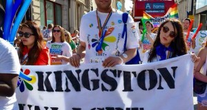 KU LGBT+ society president Adam Perry, media officer Kath Lopez (left) and secretary Rose Martin (right) at London Pride 2015