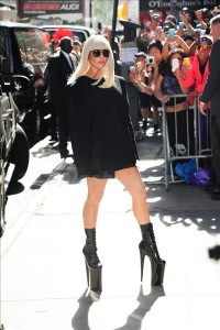 Lady Gaga coming out of 'Good morning America' in ten inch heeled shoes in NYC. Pictured: Lady Gaga Ref: SPL608513  090913   Picture by: JDH Imagez / Splash News Splash News and Pictures Los Angeles:310-821-2666 New York:212-619-2666 London:870-934-2666 photodesk@splashnews.com
