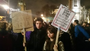 Fraizer Amos and Gabi Watson at the protest in Parliament Square