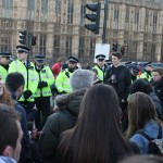 Students protesting at Westminster Bridge