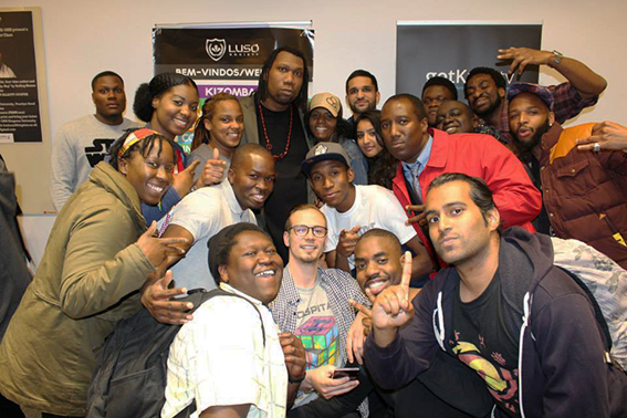 Legendary rapper KRS-One with Kingston students.