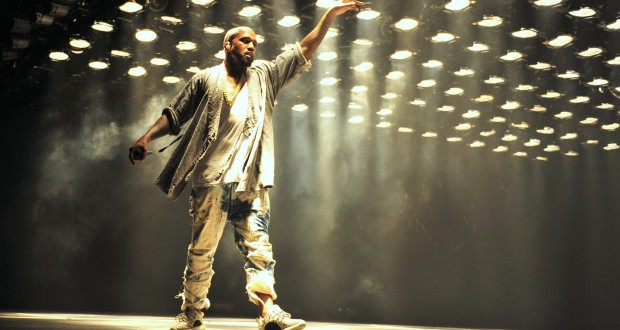 Kanye on stage during his performance at Glastonbury festival last year