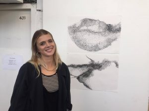 Ella Johnson, fine art student, displaying her work