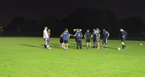The team discussing tactics before this Wednesday's game against Roehampton