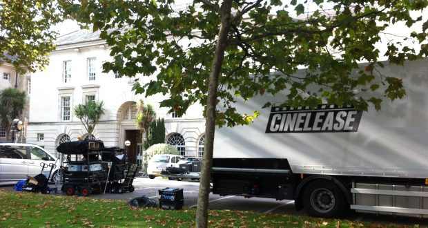 Trucks containing filming equipment parked outside the set at Surrey County Hall Photo: Jamie Craker
