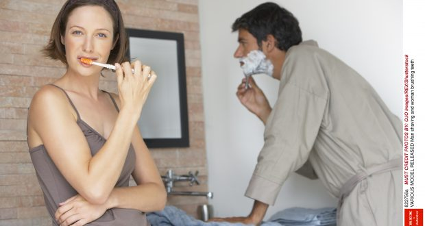 Mandatory Credit: Photo by OJO Images/REX/Shutterstock (822756a) MODEL RELEASED Man shaving and woman brushing teeth VARIOUS