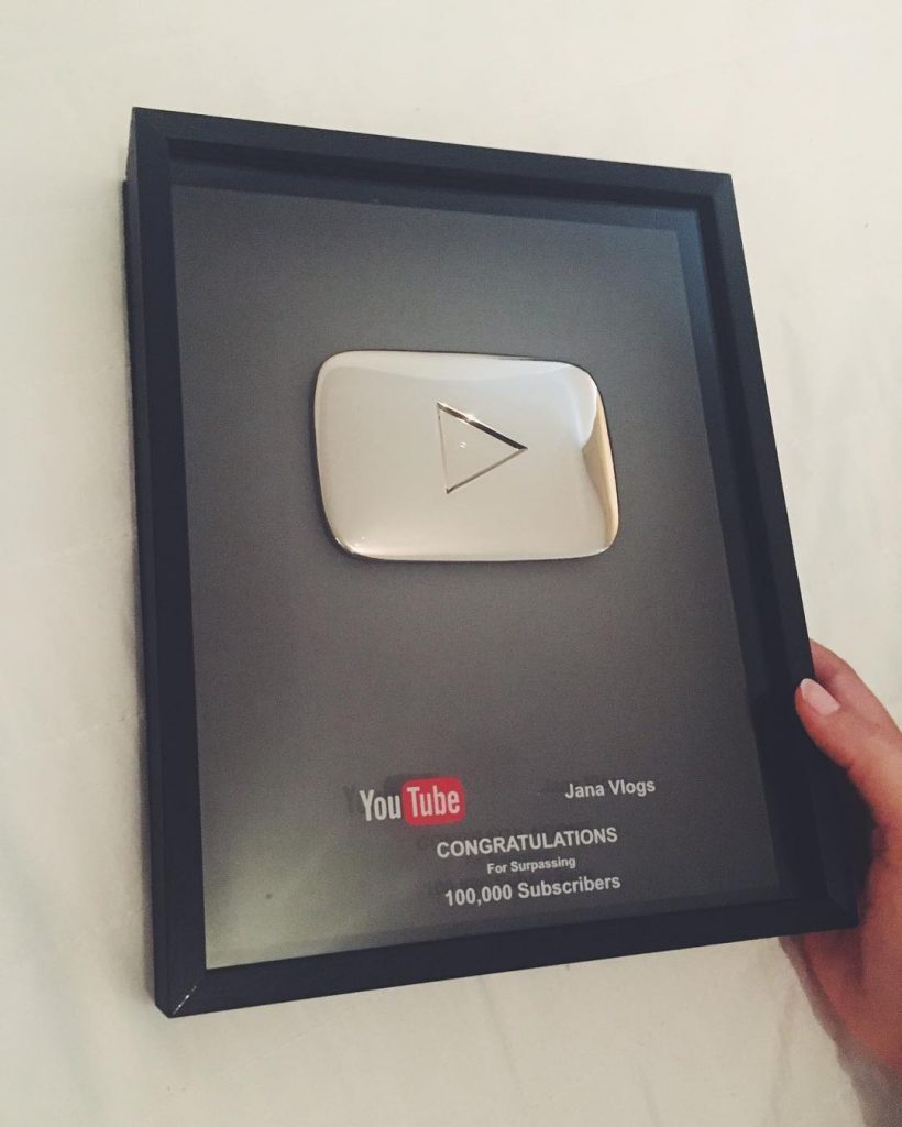 Jana's plaque from YouTube for hitting 100,000 subscribers