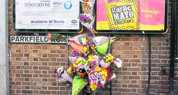 Flowers left by loved ones for Hussein near the crime scene. Photo credit: Oda Ottesen