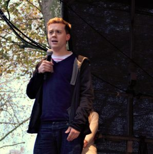 Owen Jones attended the demonstration to deliver a speech Photo: Chanelle Field