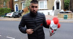 Walid Aimaq demonstrates his killer clown props Photo by: Kotryna Budriute