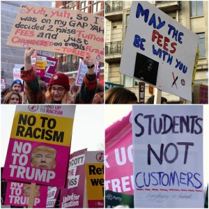 Placards from the demonstration. Photo: Chanelle Field