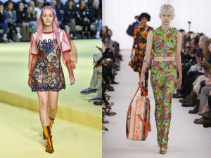 If you can't afford a brand new floral co-ord as seen at Balenciaga (right) then layering a floral dress over a tshirt like Marques' Almeida (left) might work for you. Photos: Rex Features