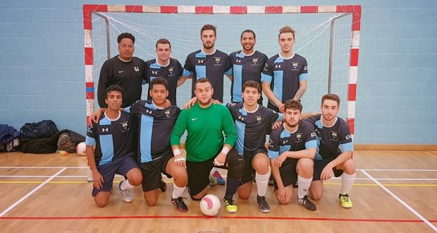 Coach Gideon Jackson (top left) and his in form Futsal team who are scoring for fun