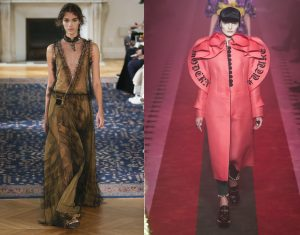 Valentino (left) and Gucci (right) might be hard to wear in a lecture theatre, but you can still steal their trends with knock-off looks from the high street. Photos: Rex Features