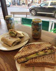 Far left: Halloumi and Jalapeno Grilled Wrap Far right: Bacon and Avocado Toastie Photo credit: Amelia Cunningham