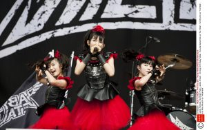 "Mandatory Credit: Photo by Tracey Welch/REX/Shutterstock (5016926h) Baby Metal - Suzuka Nakamoto as ""Su-metal"", Yui Mizuno as ""Yuimetal"", and Moa Kikuchi as ""Moametal"" Leeds Festival, Bramham Park, Leeds, Britain - 30 Aug 2015"