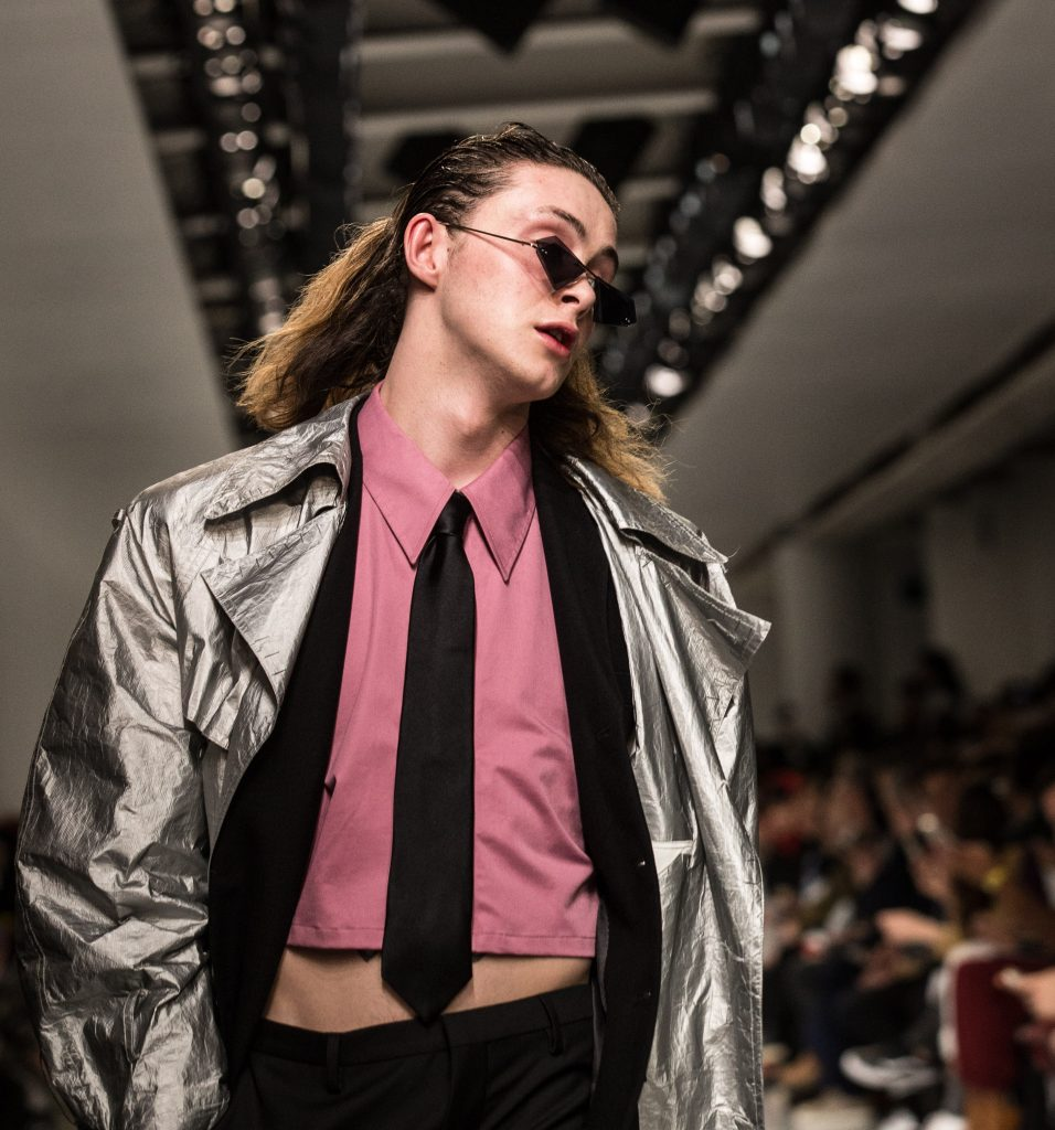 Xander Zhou crop top pictured on the catwalk. Credit: Rex Features, James Gourley