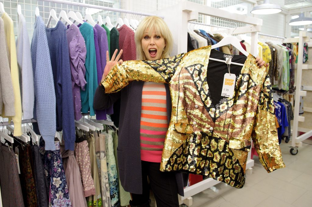 Joanna Lumley in an Oxfam store, which is where you need to go. Credit: Rex Features, Jonathan Hordle