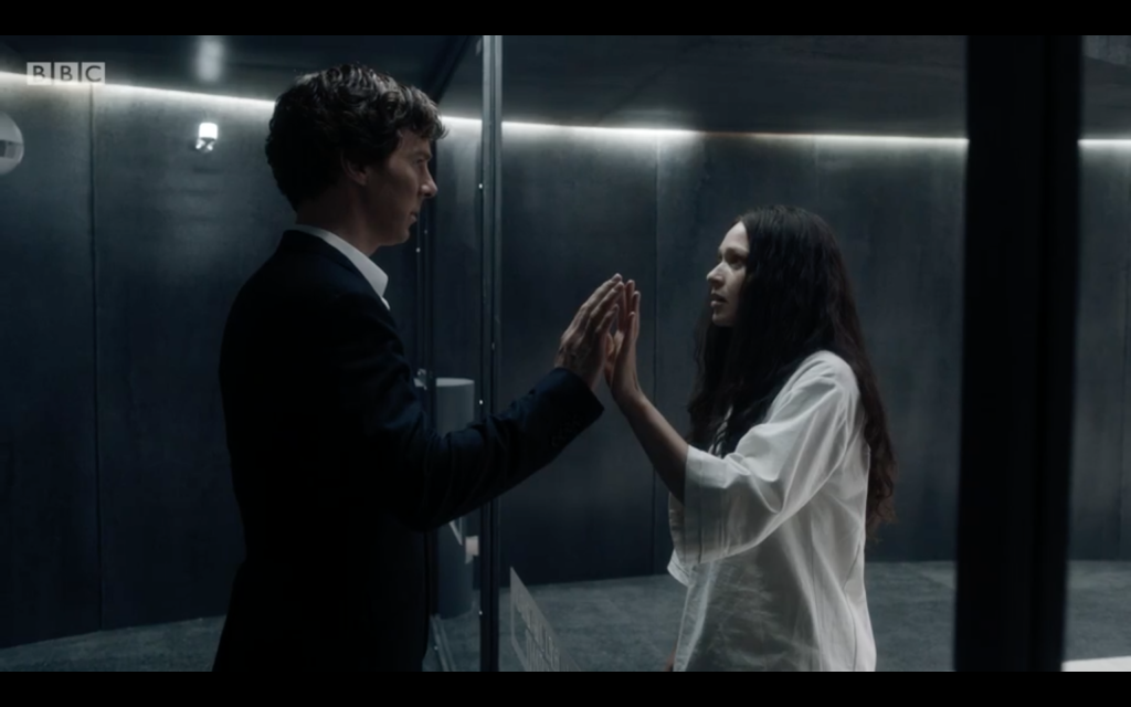 Sherlock (left) talking to his sister Euros at the mid-ocean sanatorium. Photo Credit: BBC
