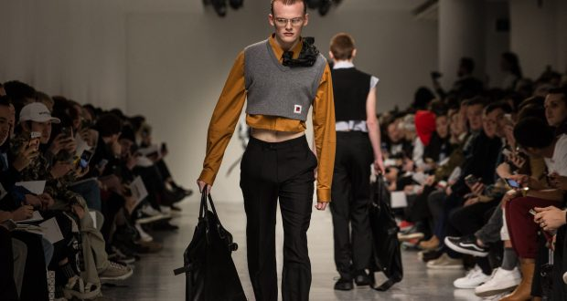 A male model wearing Xander Zhou at Men's London Fashion Week. Credit: Photo by James Gourley/REX/Shutterstock