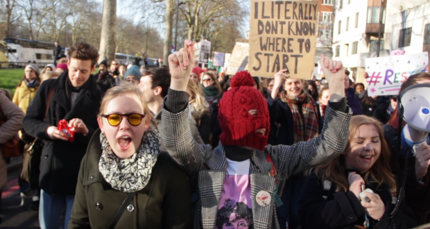 KU students at the Womens March on London 2017