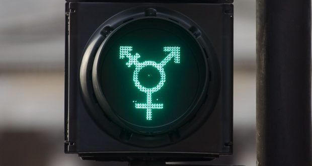 Non-binary traffic lights in Trafalgar Square, London. Photo: Rex Features