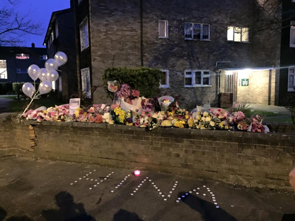 A memorial set up by Hina's friends outside Penhryn Gardens. Photo Credit: Facebook