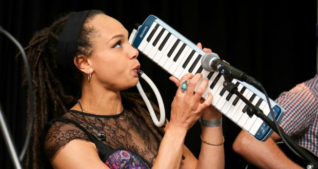 Marcia Richards playing the melodica. Photo credit: Rex Features