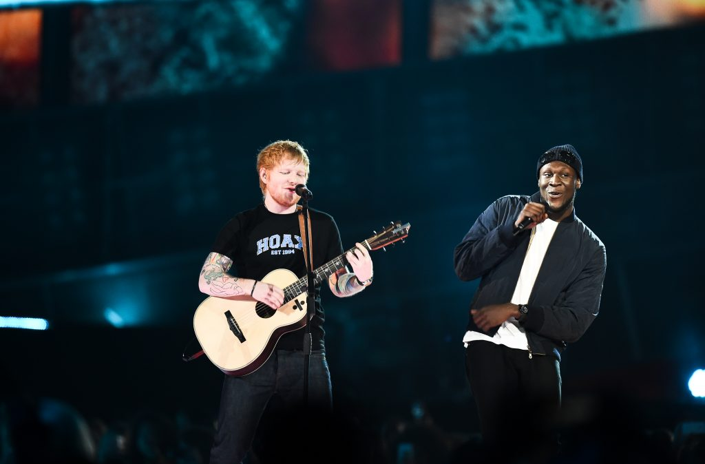 Photo credit: Rex Features Stormzy and Ed Sheeran take the stage with a Shape of You remix.