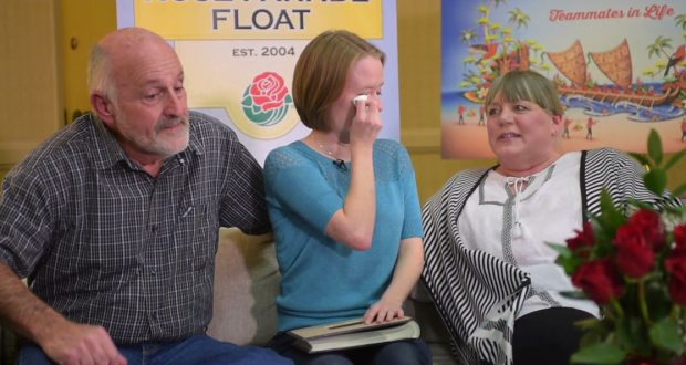 Katy Portell with PJ Wolf's parents. Photo Credit: Pasadena Star News