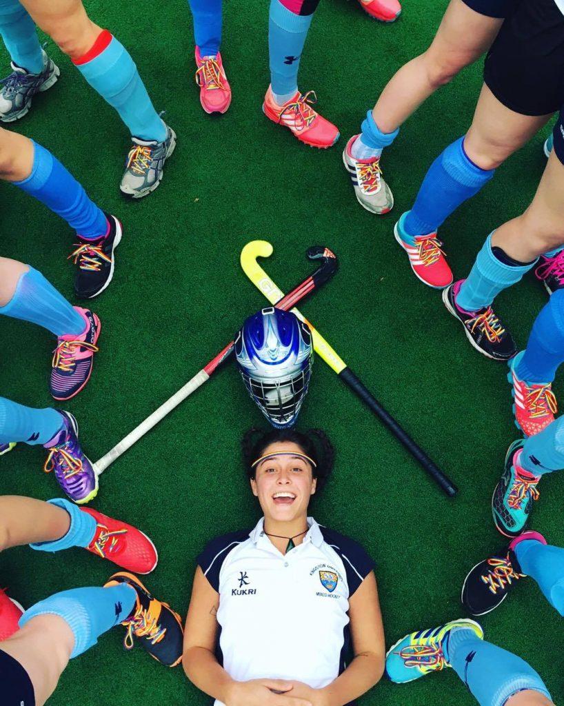 Women's hockey team wearing rainbow laces. Photo: Elliot Bullman