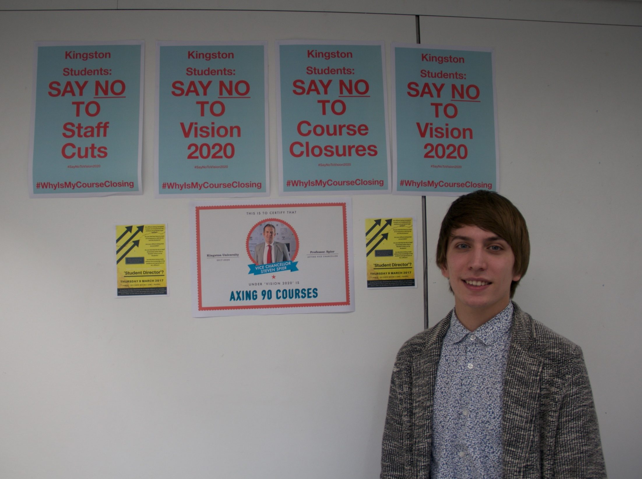 Joe Cripps set up a booth to inform staff and students about plan 2020