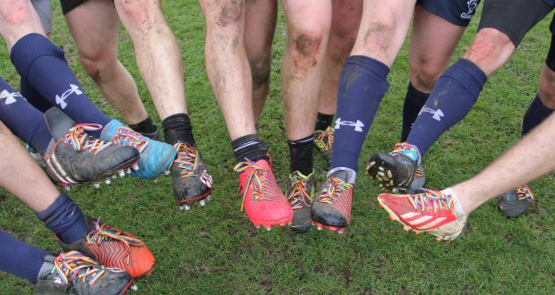 The rainbow laces were worn to celebrate LGBT history month in February. Photo: Michael Lloyd