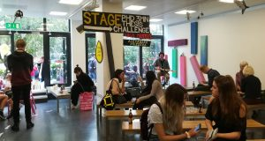 Students at Knights Park participate in the launch event for the new School of Art