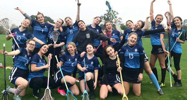 """""""It's all about having fun,"""" captain Sasha Boyko (upper row nr five from left) said after the Kingston women's lacrosse team played the first game of the season. Photo: Åsa H. Aaberge"""