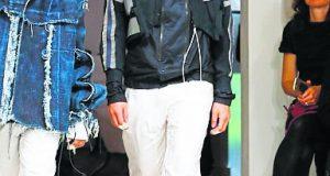 Mattoon (centre) walking down the runway at the Graduate Fashion Week.