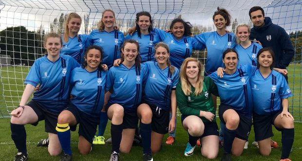 Kingstons women's football team still smiling after they suffered a 5-3 loss October 4.