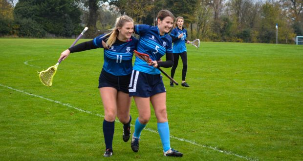 Jessica Chewter (left) celebrating with Synne Johnsson after Chewter scored her first goal. (Photo: Sunniva Kolostyák)