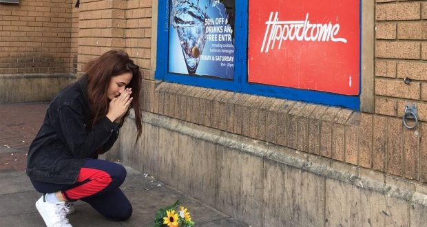 Becca paying her respects outside the venue Photo: Becca Difford-Smith