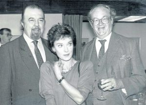Variety Club Honour's 10th Anniversary of National Theatre. Hall with Actress Nicola Paggett and Playwright John Mortimer.