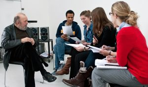 Photo: Kingston University -Sir Peter Hall with Masters students in 2009