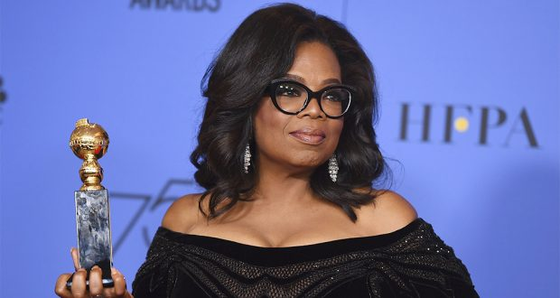 Oprah Winfrey at the Golden Globes Photo: Jordan Strauss/REX
