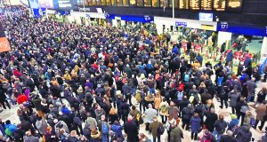 Commuters stranded at London Waterloo. Photo: REX